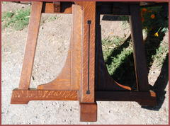 Detail of structure of base and inlay on legs.